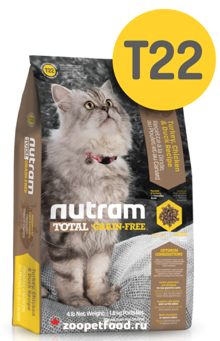 NUTRAM Total Cat Grain Free Turkey/Chicken/Duck сухой беззерновой для взрослых кошек ИНДЕЙКА / КУРИЦА / УТКА