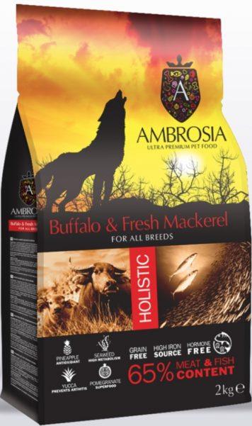 AMBROSIA Holistic Adult Dog Buffalo / Mackerel сухой беззерновой для взрослых собак всех пород БУЙВОЛ / СКУМБРИЯ