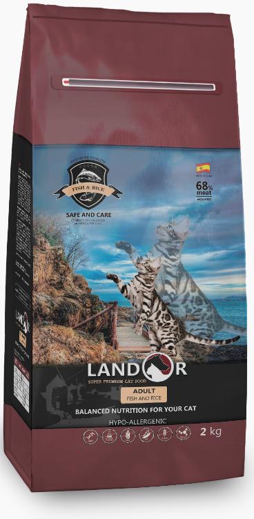 LANDOR Adult Cat Fish / Rice сухой монопротеиновый для взрослых чувствительных кошек РЫБА / РИС